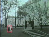 WSB-TV newsfilm clip of African American student Charlayne Hunter walking with other students on the campus of the University of Georgia in Athens, Georgia, 1961 January 17