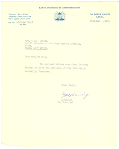 Letter from Kenya Institute of Administration to Mrs. W. E. B. Du Bois