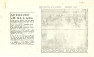 Last grand protest' of Dr. W. E. B. Du Bois