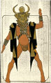 Costume design drawing, male dancer in mask, facing front, Las Vegas, June 5, 1980
