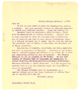 Niagara Movement membership letter No. 3