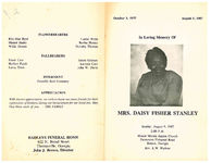 In loving memory of Mrs. Daisy Fisher Stanley, Sunday, August 9, 1987, 2:00 p.m., Mount Moriah Baptist Church, Parramore Fishpond Road, Boston, Georgia, rev. L.W. Hudson