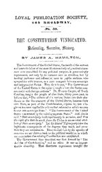 The Constitution vindicated nationality, secession, slavery /