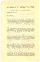 Niagara Movement Department of Civil Rights, department letter no. 1