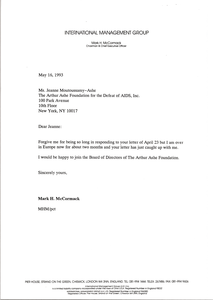 Letter from Mark H. McCormack to Jeanne Moutoussamy-Ashe