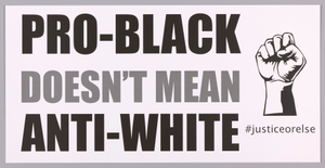 "Posters stating ""Pro-Black Doesn't Mean Anti-White"" used at MMM 20th Anniversary"