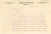 Letter from W. E. B. Du Bois to Jane Addams