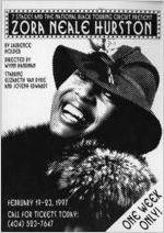 "7 Stages and the National Black Touring Circuit present ""Zora Neale Hurston,"" by Laurence Holder, directed by Wynn Handman, postcard announcing performances at 7 Stages Theatre, Atlanta, Georgia, February 19 - 23, 1997"