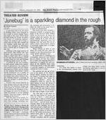 """""""'Junebug' is a sparking diamond in the rough,"""" by Paula Crouch. In The Atlanta Journal-Constitution, January 18, 1985, page 7-P"""
