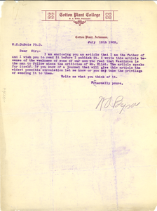 Letter from William A. Byrd to W. E. B. Du Bois