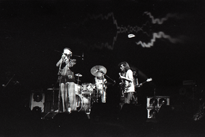 Hot Tuna concert: Band in performance on stage: Will Scarlett at microphone, Jorma Kaukonen (guitar) and Jack Casady (bass) behind