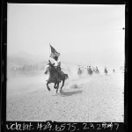 African American boys riding horses during training for movie about United States 10th Cavalry, Buffalo Soldiers, Calif., 1966
