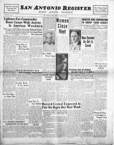 San Antonio Register (San Antonio, Tex.), Vol. 3, No. 18, Ed. 1 Friday, August 4, 1933 San Antonio Register