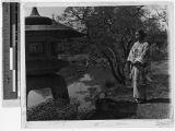 Portrait of a Japanese girl in the Hikone church garden, Hikone, Japan, ca. 1937