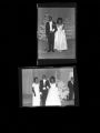 Set of negatives by Clinton Wright including women and escorts at winter formal, 1966