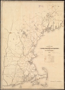 Map of the Yearly Meeting of Friends for New England: 1850
