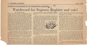Watchword for Negroes: register and vote