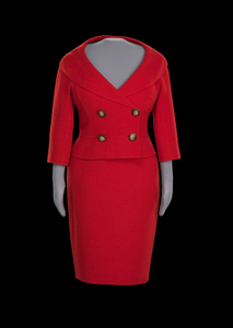 Red suit worn by Oprah Winfrey during the car giveaway on The Oprah Winfrey Show