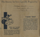 Althea Hurst scrapbook, 1938. Page 72. Provident Travel Service blue itinerary This itinerary has been especially prepared for Mrs. Althea Hurst, Cincinnati, Ohio