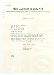 Letter from Afro-American Newspapers to W. E. B. Du Bois