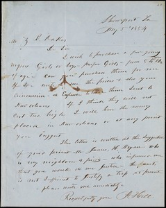 A, Hill, Shreveport, La\., autograph letter signed to Ziba B. Oakes, 5 May 1854