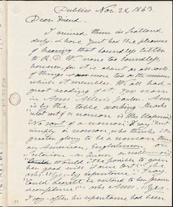 Letter from Henry Clarke Wright, Dublin, [Ireland], to Maria Weston Chapman, 1843 Nov[ember] 28