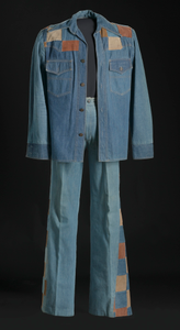 Denim and suede suit jacket and bellbottoms worn by Charley Pride