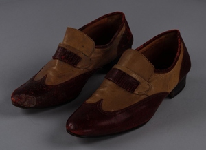 Red and cream loafers designed by Pierre Cardin and worn by Fats Domino