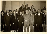 Henry A. Wallace posing with group of African Americans, United States, 1940s