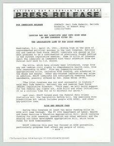 [Press Release: New Congress] National Gay and Lesbian Task Force (NGLTF), 1990-1991