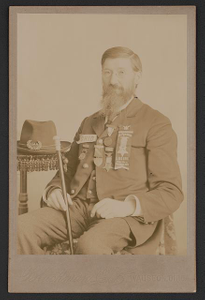 [Unidentified Civil War veteran with medals and G.A.R. Post No. 35, Wauseon, Ohio, ribbon]