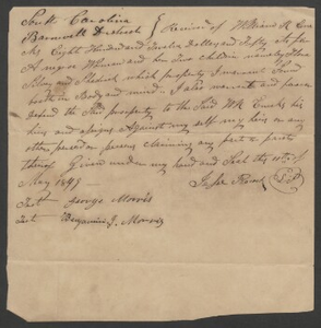 Bill of sale for one slave woman and her two children, $812, to William B. Enecks, Barnwell District, S.C.