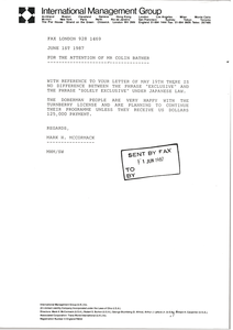 Fax from Mark H. McCormack to Colin Bather
