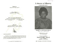 A service of memory, celebrating the life of, Mary L. Hannah Figgs, February 26, 1993, at 12:00 noon, service to be held at Central C.M.E. Church, 7600 Tireman, Detroit, Michigan, Rev. Eugene Woodson, officiating