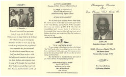 "Homegoing services for dea. Horace ""Bud"" Reid, Sr., 11:00 a.m., Saturday, January 19, 2002, Shiloh Missionary Baptist Church, 300 Harris Street, Thomasville, Georgia 31792, rev. Curnell Henry, officiating minister"
