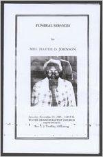Funeral services for Mrs. Hattie D. Johnson, Saturday, November 23, 1985, 2:00 p.m., Water Branch Baptist Church, [Grovetown, Georgia], Rev. L. J. Tanksley, officiating