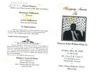 Homegoing services for Deacon John Walton King, Jr., Friday, May 26, 2006, 11:00 a.m., Mt. Zion P.B. Church, 323 McKinley Street, Thomasville, Georgia, Elder Jimmy Simmons, pastor, officiating