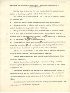 Memorandum for the Board of the NAACP concerning discrimination in public education [fragment]