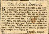 1795, Run away notice of Addonijah of Dutchess County, N.Y.