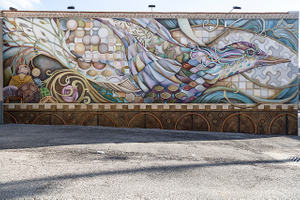 """Designer Tina Westercamp's combination mural/tilework, """"The Migration of Tradition"""" on the Rockwood Pottery Building in Cincinnati, Ohio"""