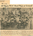 All Negro WAC band plays at Grinnell; Herald Register (Grinnell, Iowa); Women's military activity