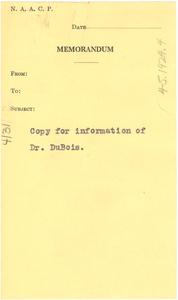 Copy for information of Dr. Du Bois