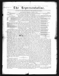 The Representative. (Galveston, Tex.), Vol. 1, No. 6, Ed. 1 Monday, June 26, 1871 The Representative