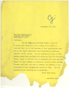 Letter from NAACP to American Red Cross