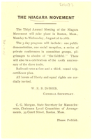 Announcement of Third Annual Meeting of the Niagara Movement