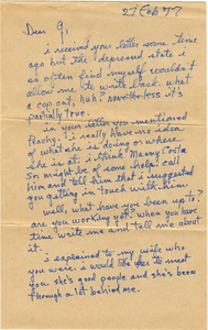 Letter from Frank 'Parky' Grace to Gloria Xifaras Clark
