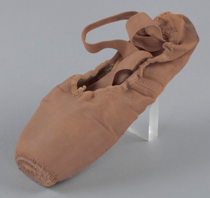 Toe shoe and tights worn by Alexandra Jacob of Dance Theatre of Harlem