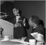 Martin Luther King, Jr. and Jacob Rothschild at the Nobel Peace Prize recognition dinner, National Conference of Christians and Jews, Dinkier Plaza Hotel, Atlanta, Georgia, January 27, 1965