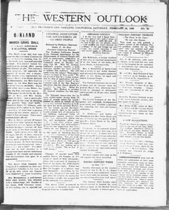 The Western Outlook (San Francisco and Oakland, Calif.), Vol. 34, No. 20, Ed. 1 Saturday, February 18, 1928 The Western Outlook