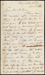 Letter from Maria Weston Chapman, Weymouth, [Mass.], to James Miller M'Kim, Nov. 2, [1861]